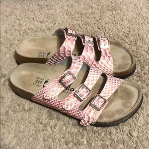Betula 3 Strap Pink Snakeskin Sandal size38(7.5-8)